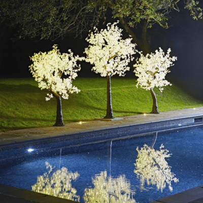 2m and 3m Lollipop Led white maples by a pool