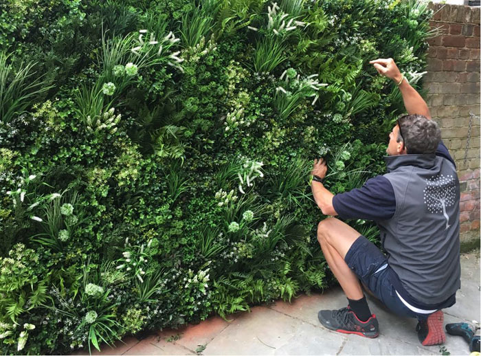 Installing our Faux Living Wall