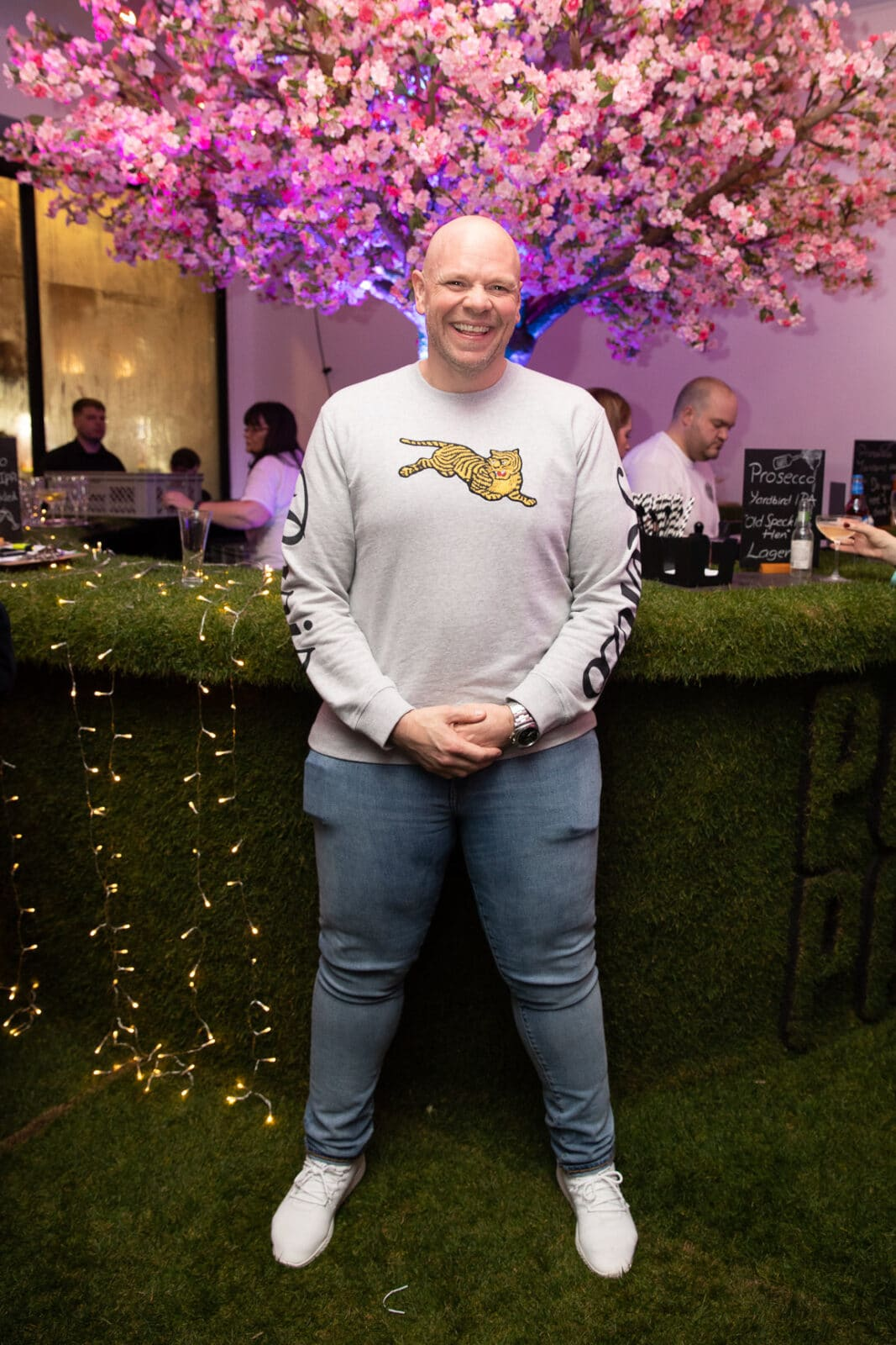 Pub In The Park launch evening hosted by Tom Kerridge, featuring Twilight Trees' pink blossom trees