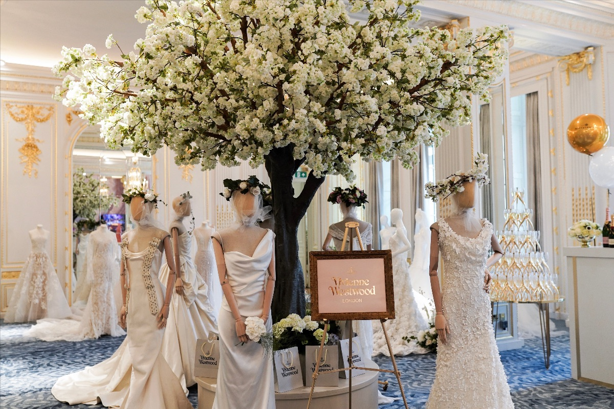 Our apple blossom trees at Bridelux wedding event