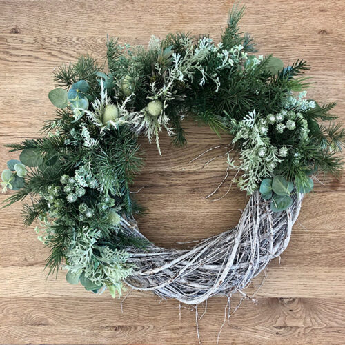 Nordic faux Christmas wreath by Twilight Trees