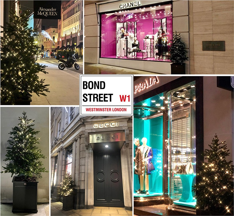 Christmas trees on London's Bond Street by Twilight Trees