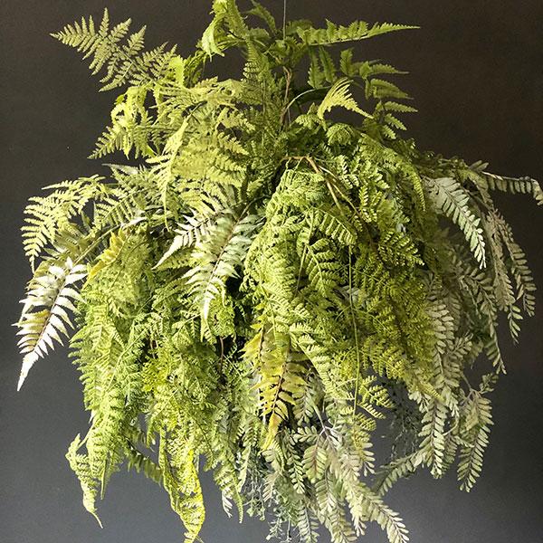 Faux fern in a messy sphere by Twilight Trees