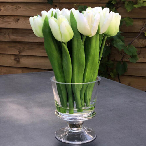 Faux white tulips flower arrangement in glass vase by Twilight Trees